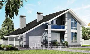 190-006-L Two Story House Plans and mansard with garage, a simple Planning And Design