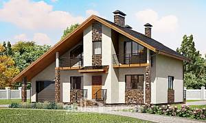 180-008-L Two Story House Plans with mansard with garage in front, best house Drawing House,