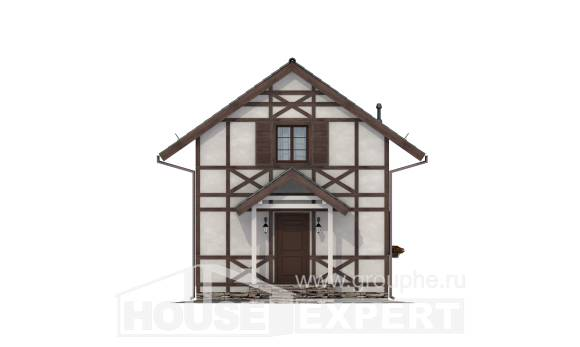 060-002-R Two Story House Plans and mansard, cozy Building Plan