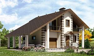 150-003-L Two Story House Plans with mansard roof with garage in back, the budget Home House