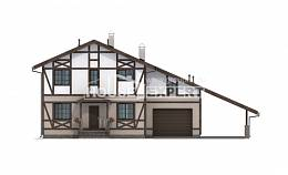 250-002-R Two Story House Plans and mansard with garage in front, luxury Woodhouses Plans