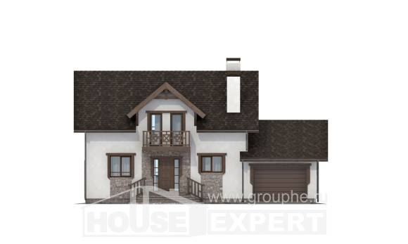 180-013-R Two Story House Plans with mansard with garage in front, the budget Ranch