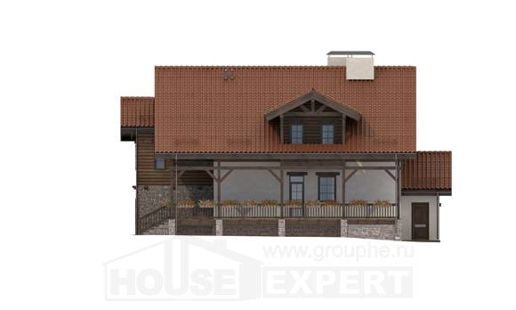 255-002-L Two Story House Plans with mansard with garage in back, luxury House Planes