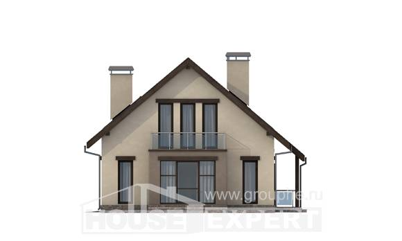 185-005-L Two Story House Plans with mansard and garage, beautiful Architect Plans