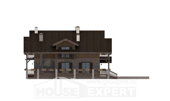 400-004-R Three Story House Plans and mansard and garage, a huge Blueprints