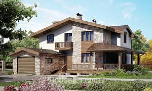 220-001-R Two Story House Plans with mansard and garage, best house Floor Plan
