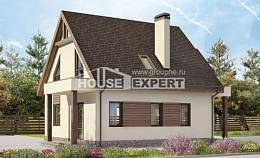 120-005-L Two Story House Plans with mansard roof and garage, available Plans To Build