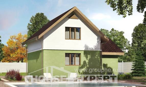 120-002-R Two Story House Plans with mansard roof with garage under, the budget Plan Online