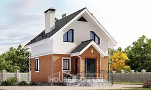 070-001-L Two Story House Plans with mansard, compact Architects House