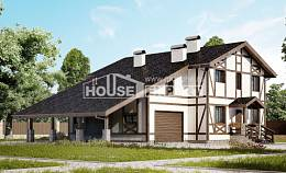 250-002-L Two Story House Plans and mansard with garage in front, best house Timber Frame Houses Plans