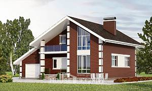 180-001-L Two Story House Plans and mansard with garage under, beautiful Cottages Plans