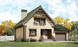 160-007-R Two Story House Plans and mansard with garage, modest Online Floor