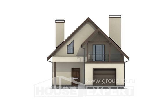 120-005-L Two Story House Plans with mansard roof with garage, the budget Plan Online