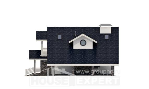 155-010-R Two Story House Plans with mansard roof with garage under, modest Blueprints
