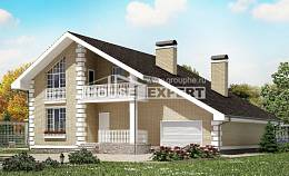 190-005-R Two Story House Plans and mansard and garage, classic Architect Plans