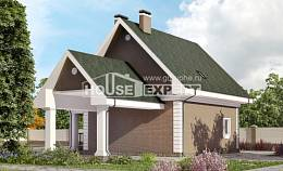 140-003-R Two Story House Plans with mansard and garage, small Architectural Plans