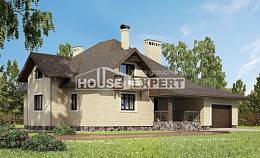 275-003-R Two Story House Plans and mansard with garage in back, a huge Architect Plans