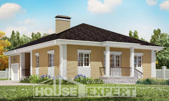 130-002-L One Story House Plans with garage in front, compact Design House