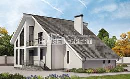 200-007-L Two Story House Plans and mansard with garage under, a simple House Blueprints