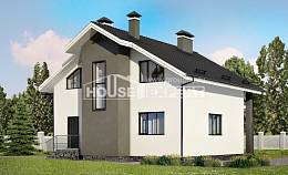 150-005-L Two Story House Plans with mansard roof, modest Ranch