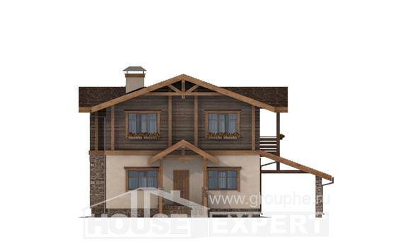 170-004-R Two Story House Plans with mansard roof with garage in back, compact Ranch