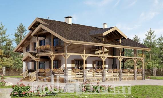 260-001-L Two Story House Plans with mansard roof, modern Woodhouses Plans
