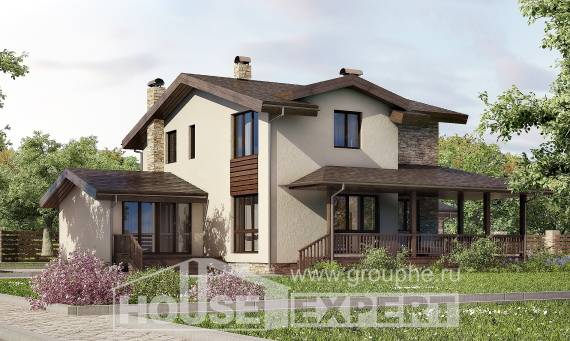 220-001-L Two Story House Plans with mansard and garage, beautiful Models Plans