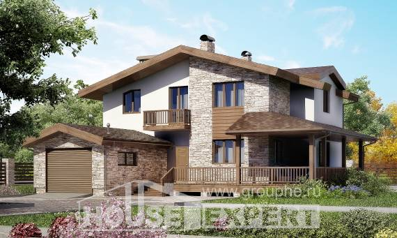 220-001-R Two Story House Plans with mansard roof with garage in back, best house Architectural Plans