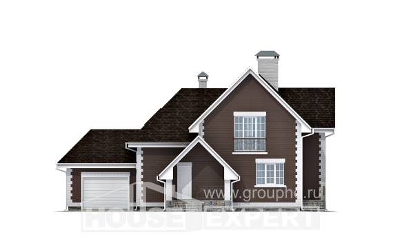 190-003-L Two Story House Plans and mansard with garage under, classic Design House