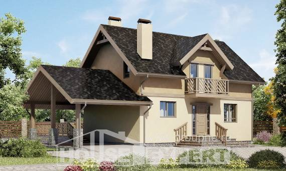 150-011-L Two Story House Plans and mansard with garage, modest Timber Frame Houses Plans