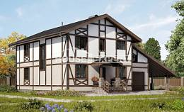 250-002-R Two Story House Plans with mansard roof with garage in back, cozy House Online