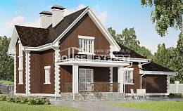 190-003-L Two Story House Plans with mansard with garage, luxury Architectural Plans