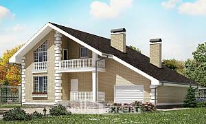 190-005-R Two Story House Plans with mansard with garage, a simple Blueprints of House Plans