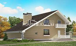 190-005-R Two Story House Plans and mansard with garage under, spacious Blueprints of House Plans