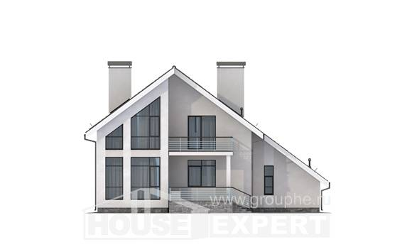 200-007-L Two Story House Plans and mansard with garage under, beautiful House Online