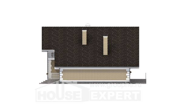 190-005-R Two Story House Plans with mansard roof with garage in back, classic Design House