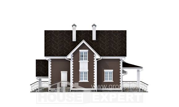190-003-L Two Story House Plans with mansard and garage, average Ranch