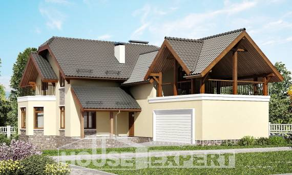 255-003-R Two Story House Plans with mansard roof with garage under, beautiful Models Plans