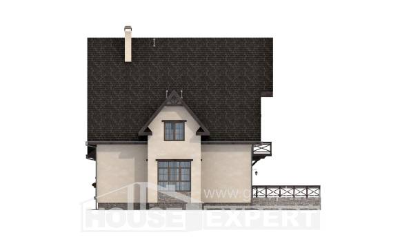 435-002-R Three Story House Plans with mansard and garage, cozy Design Blueprints