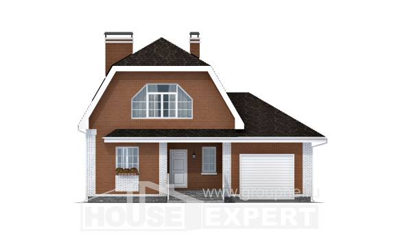 160-006-R Two Story House Plans with mansard with garage under, classic Woodhouses Plans