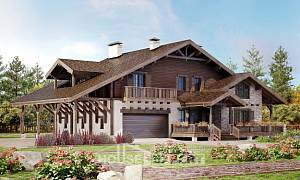340-003-R Two Story House Plans with mansard roof with garage under, a huge Plan Online