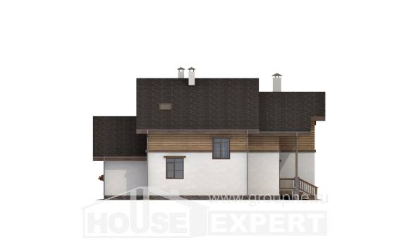 210-006-R Two Story House Plans with mansard, beautiful Villa Plan