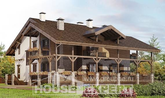 400-004-R Three Story House Plans with mansard roof with garage in back, cozy House Building