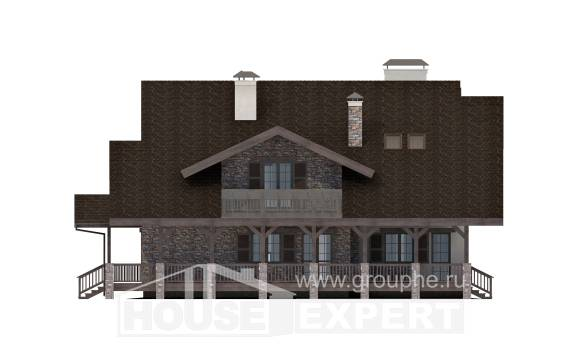 320-001-R Two Story House Plans with mansard roof with garage under, spacious Architect Plans