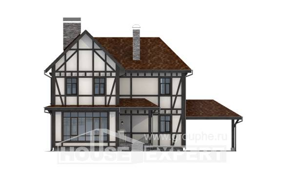 180-004-L Two Story House Plans and mansard with garage, modern Drawing House
