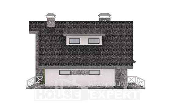 180-017-L Two Story House Plans with mansard with garage in back, luxury Timber Frame Houses Plans,