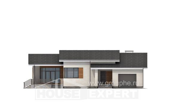 135-002-R One Story House Plans with garage, modest Home House