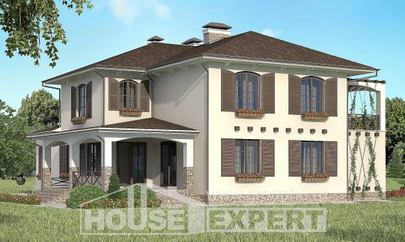 285-002-R Two Story House Plans with garage in front, classic Architect Plans