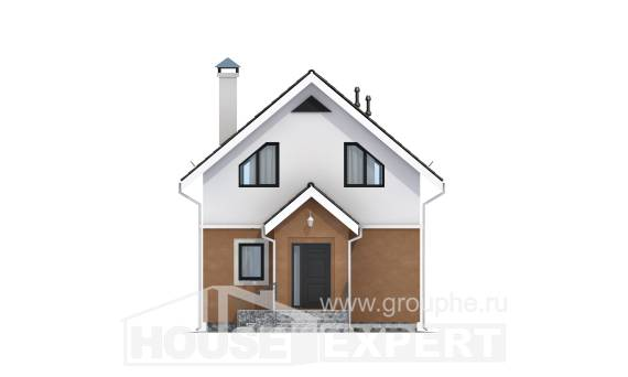 070-001-L Two Story House Plans with mansard, modest Dream Plan