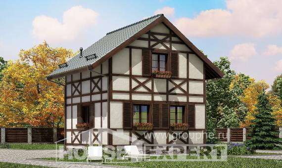 060-002-R Two Story House Plans with mansard, modest Drawing House